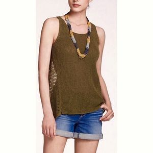 Anthropologie Green Knit Tank Top Sleeveless